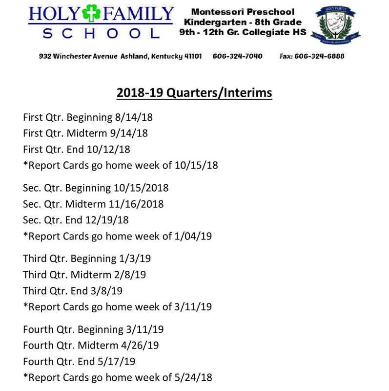 2018 19 school calendar holy family school ashland ky